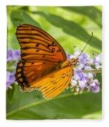 Butterfly On Purple Fleece Blanket