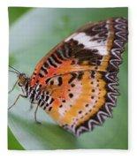 Butterfly On The Edge Of Leaf Fleece Blanket by John Wadleigh