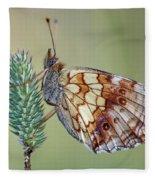 Butterfly On The Grass Fleece Blanket