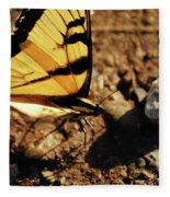 Butterfly On The Rocks Fleece Blanket