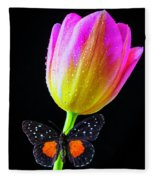 Butterfly On Yellow Pink Tulip Fleece Blanket