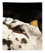 Butterfly Standing On Rock Fleece Blanket