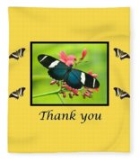 Butterfly Thank You Card Fleece Blanket