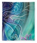 Butterfly Wing With Lotus Fleece Blanket
