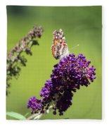 Butterfly With Flowers Fleece Blanket