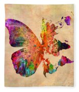 Butterfly World Map  Fleece Blanket