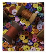 Buttons With Thread Fleece Blanket