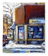 Buy Original Montreal Paintings Beauty's Winter Scenes For Sale Achetez Petits Formats Tableaux  Fleece Blanket