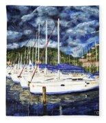 Bvi Sailboats Painting Fleece Blanket