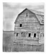 Bw Rustic Barn Lightning Strike Fine Art Photo Fleece Blanket