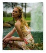 By The Fountain Fleece Blanket