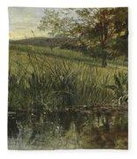 By The Riverbank, 1869 Fleece Blanket