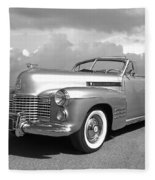 Bygone Era - 1941 Cadillac Convertible In Black And White Fleece Blanket