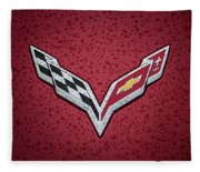 C7 Badge Red Fleece Blanket
