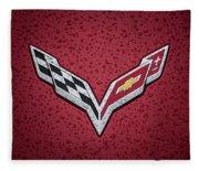 C7 Badge Red Fleece Blanket