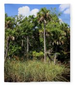 Cabbage Palms Along The Cotee River Fleece Blanket
