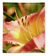 Cabbage White Butterfly On Day Lily Fleece Blanket