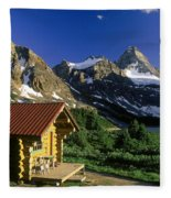 Cabin At Mt Assiniboine Lodge, Mt Fleece Blanket
