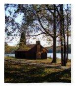 Cabin By The Lake Fleece Blanket