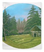 Cabin In The Meadow Fleece Blanket