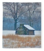 Cabin In The Snow - Valley Forge Fleece Blanket
