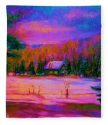 Cabin In The Woods Fleece Blanket