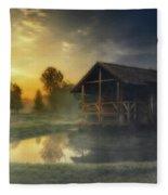 Cabin Sunrise Fleece Blanket