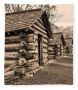 Cabins At Valley Forge In Sepia Fleece Blanket