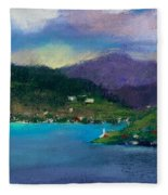 Cabins On The Lake Fleece Blanket