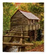 Cable Mill Cades Cove Smoky Mountains Tennessee In Autumn Fleece Blanket