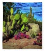 Cacti And Rock Fleece Blanket