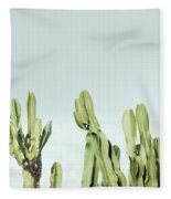 Cactus And Sky Vintage Fleece Blanket