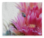 Cactus Flower And A Busy Bee Fleece Blanket