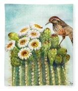 Cactus Wren And Saguaro Fleece Blanket