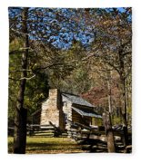 Cades Cove Early Settler Cabin  Fleece Blanket