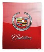 Cadillac - 3 D Badge On Red Fleece Blanket