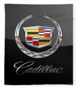 Cadillac - 3 D Badge On Black Fleece Blanket