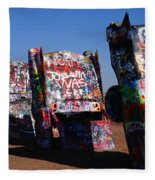Cadillac Ranch On Route 66 Fleece Blanket