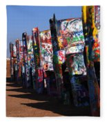 Cadillac Ranch Route 66 Fleece Blanket