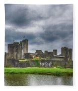 Caerphilly Castle North View 3 Fleece Blanket