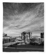 Caerphilly Castle Panorama Mono Fleece Blanket
