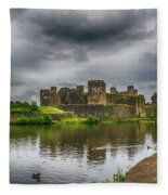Caerphilly Castle South East View 2 Fleece Blanket