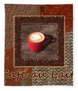 Cafe Au Lait - Coffee Art - Red Fleece Blanket