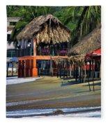 Cafe Beach Bucerias Mexico Fleece Blanket