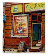 Cafe Bistro St. Viateur Fleece Blanket