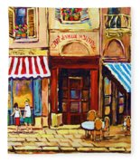 Cafe De Vieux Montreal With Couple Fleece Blanket