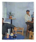 Cafe In Greece Fleece Blanket