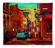 Cafe Le Vieux Port Fleece Blanket