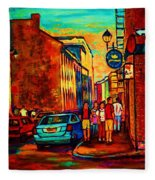 Cafe Le Vieux Port Fleece Blanket