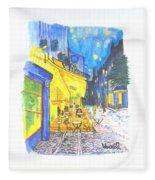 Cafe Terrace At Night - Van Gogh Fleece Blanket
